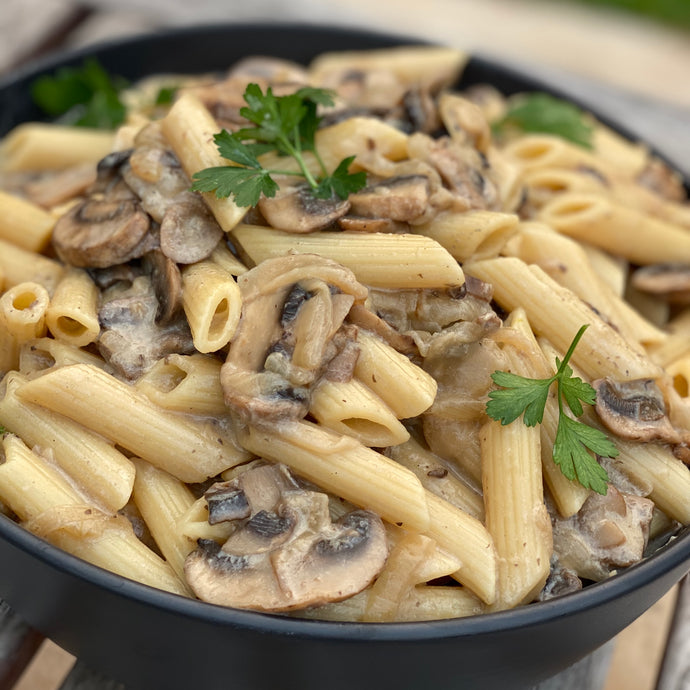 Caramelised Onions and Garlic Mushroom Creamy Pasta
