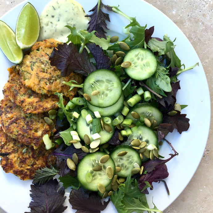 Zucchini Fritters with Cucumber Salad