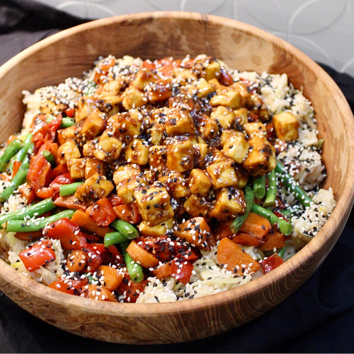 Teriyaki Glazed Tofu with Brown Rice