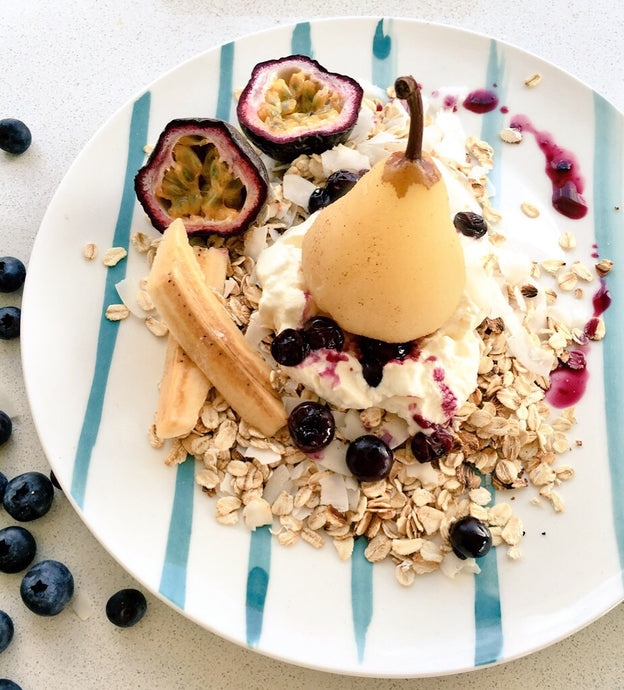 Mmmonday Poached Pear Passionfruit and Blueberry Coconut Oats