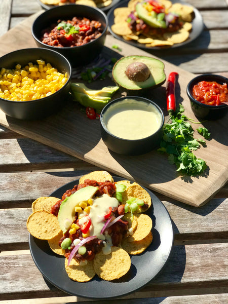 Cheesy Nacho Sauce with a Mexican Bean Mix
