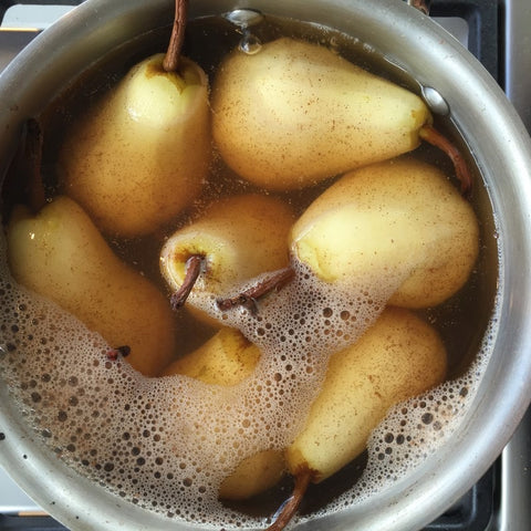 Cinammon poached pears Dani Stevens vegan recipe