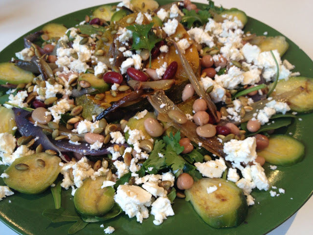 Pumpkin, feta, brussel sprouts salad