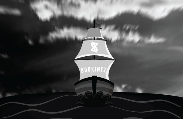 Brokinez ship sailing on a grey day. Black and white picture