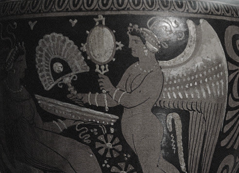 God Eros giving hand fan to a young beautiful lady