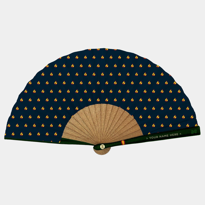 Hand Fans Brokinez Elements Fire Blue Cloth or Fabric Green Leather Gold Axis Front View