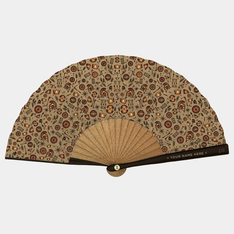 Hand Fans Brokinez Gods Cronos Beige Cloth or Fabric Brown Leather Gold Axis Front View
