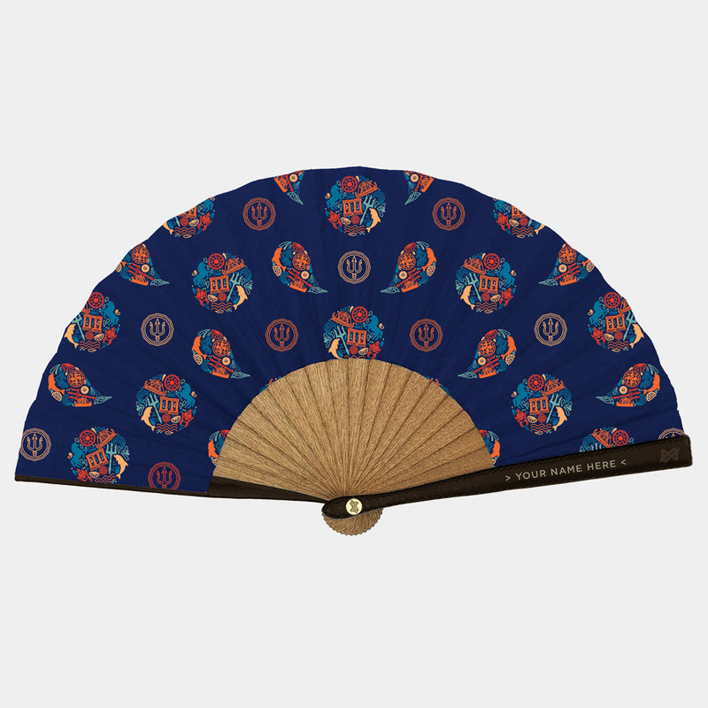 Hand Fans Brokinez Gods Poseidon Blue I Cloth or Fabric Brown Leather Gold Axis Front View