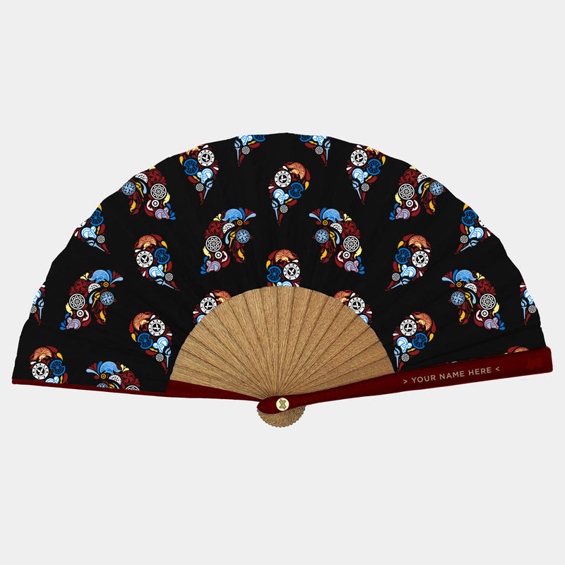 Hand Fans Brokinez Gods Ares Black Cloth or Fabric Maroon Leather Gold Axis Front View