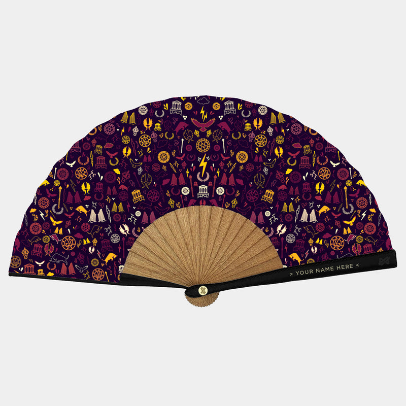 Hand Fans Brokinez Gods Zeus Blackberry Cloth or Fabric Black Leather Gold Axis Front View