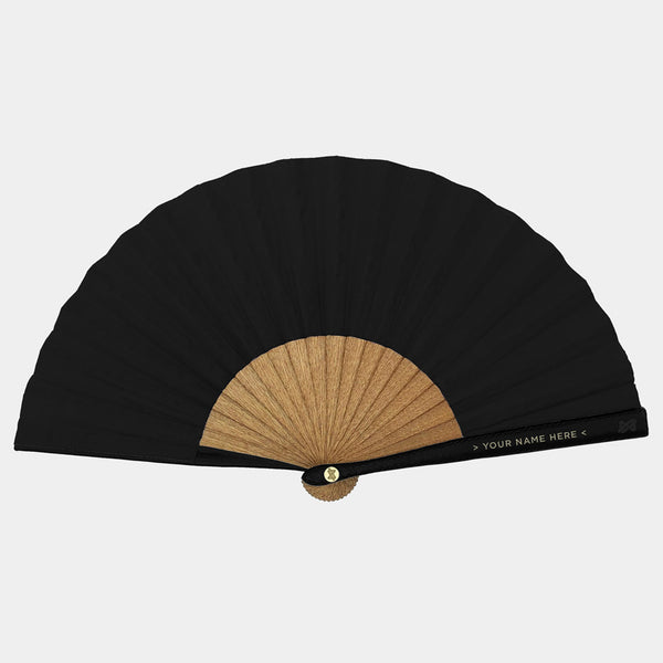 Hand Fans Brokinez Chaos Black Cloth or Fabric Black Leather Gold Axis Front View