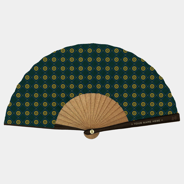 Hand Fans Brokinez Elements Wheel Green Cloth or Fabric Brown Leather Gold Axis Front View