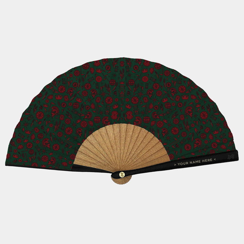 Hand Fans Brokinez Gods Cronos Green Cloth or Fabric Black Leather Gold Axis Front View