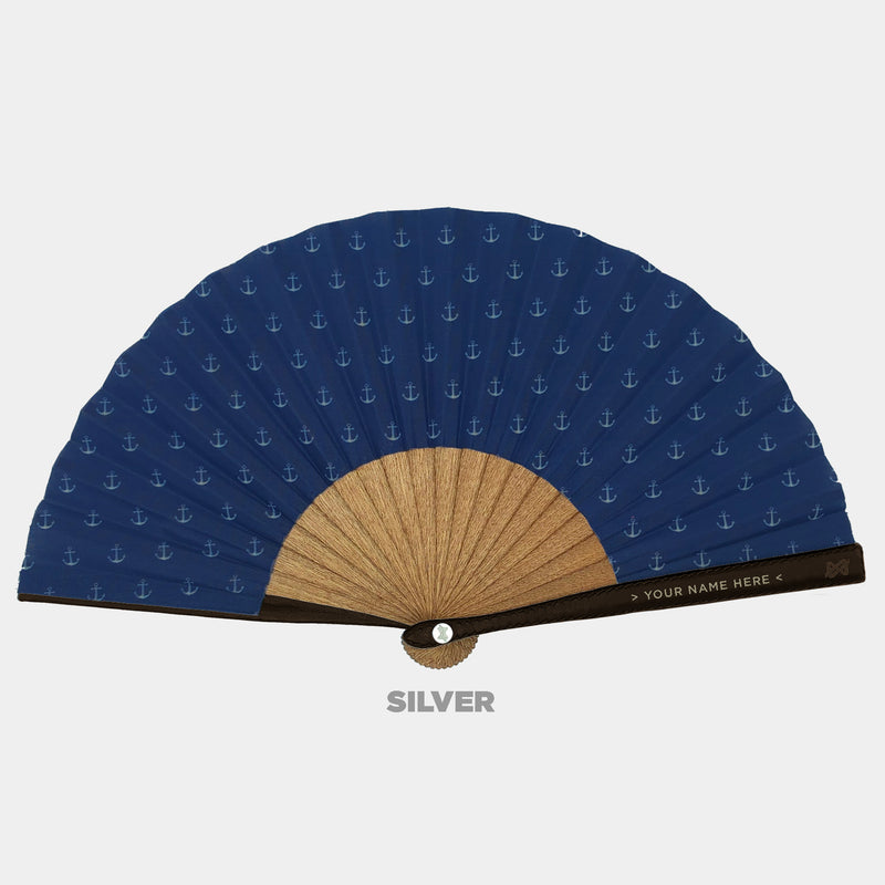 Hand Fans Brokinez Elements Anchor Blue Cloth or Fabric Brown Leather Silver Axis Front View