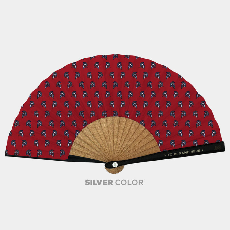Hand Fans Brokinez Elements Iron Red Cloth or Fabric Black Leather Silver Axis Front View