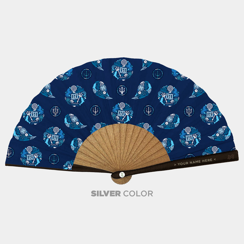 Hand Fans Brokinez Gods Poseidon Blue II Cloth or Fabric Brown Leather Silver Axis Front View