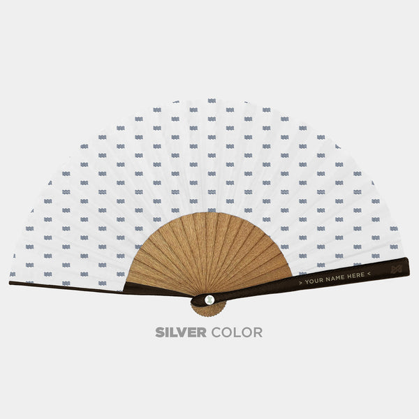 Hand Fans Brokinez Elements Water White Cloth or Fabric Brown Leather Silver Axis Front View