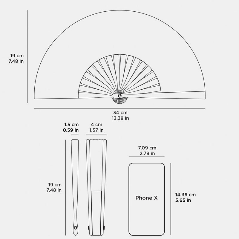 Brokinez Hand Fans Dimensions or Measures of the Hand Fan Open and Closed Compared with and iPhone X
