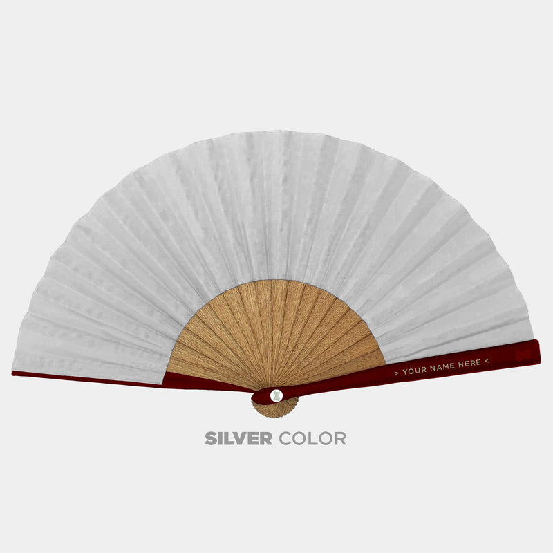 Hand Fans Brokinez Chaos White Cloth or Fabric Maroon Leather Silver Axis Front View