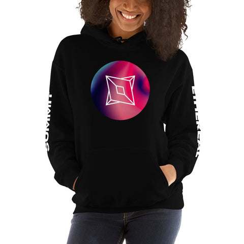 Ethereal Summit Sphere Unisex Hoodie with Printed Sleeves