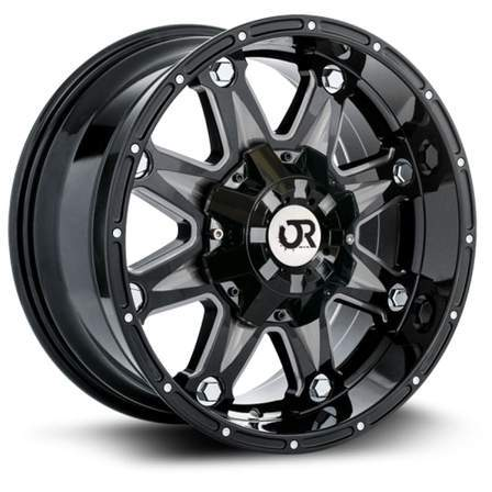 RTX Offroad Alloy Wheels SPINE 17X9 8-165 15P C125 BLACK - MILLED SPOKE - AutoPartsDistrict