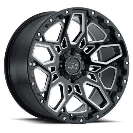 Black Rhino Alloy Wheels SHRAPNEL 20X9.5 6-139.7 12P C112 BLACK W/MILLED SPOKE - AutoPartsDistrict