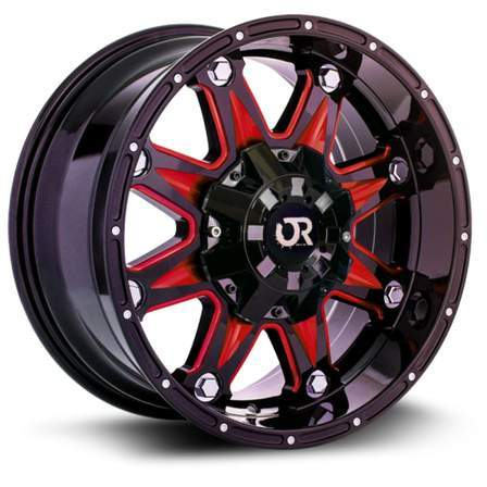 RTX Offroad Alloy Wheels SPINE 20X9 8-180 15P C125 BLACK - MILLED RED SPOKE - AutoPartsDistrict