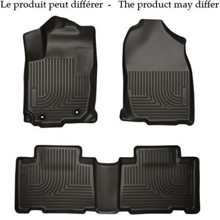Husky Liners Molded Floor Mats Husky Liners 99711 - Front & 2nd Seat Floor Liners (Footwell Coverage) - Weatherbeater - Black - F250/450 CREW 12-16 - AutoPartsDistrict