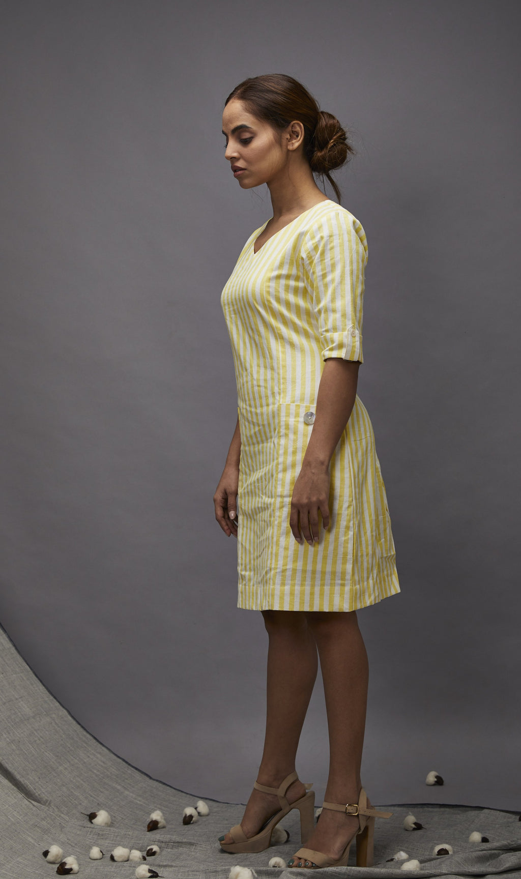 Summer special cotton shift dress – Yellow stripes