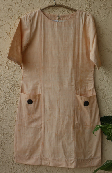 Boat neck shift dress - Peach