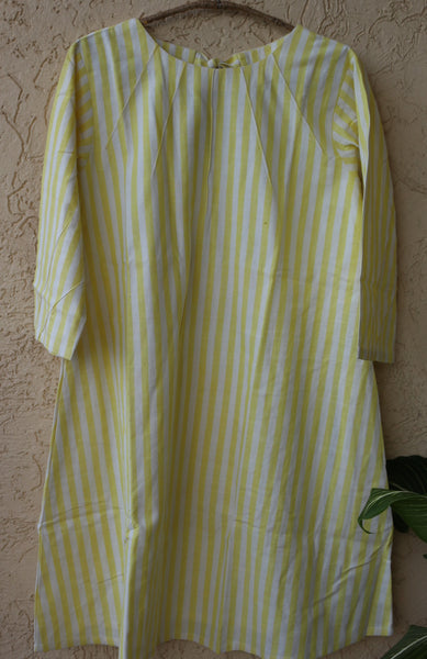 Pintuck yoke aline dress - Lemon yellow stripes