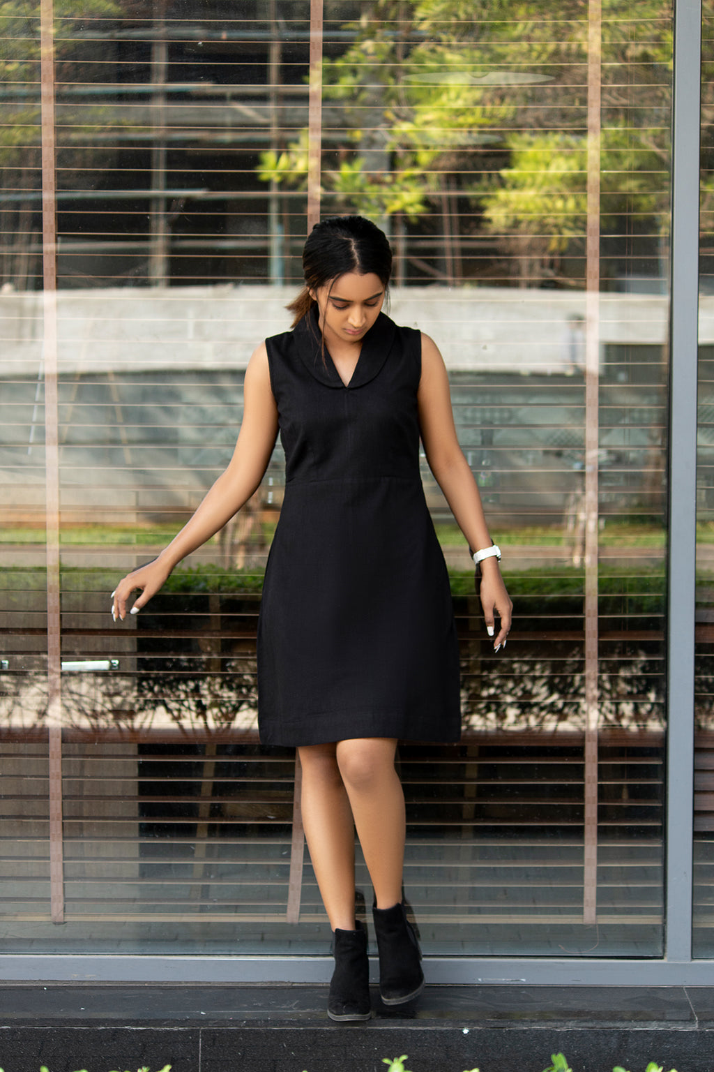 100% handwoven cotton Elongated round collar in a v-neck style Sleeveless black dress Deep pockets on both sides along the seam all season wear black cotton dress with pocket cotton western dress black cotton dress knee length cotton dress cotton little black dress The Kaatn Trail LBD Sustainable Clothing Slow fashion