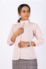 Hand-spun, hand-woven fabric Natural dyed using madder Stand collar with frills Khadi formal shirt Cotton formal shirt Khadi shirt for women pink cotton top pink khadi shirt for women pink khadi top for women Khadi product online Sustainable Fashion brand Slow fashion brand The Kaatn Trail Natural dyed clothing Khadi clothing