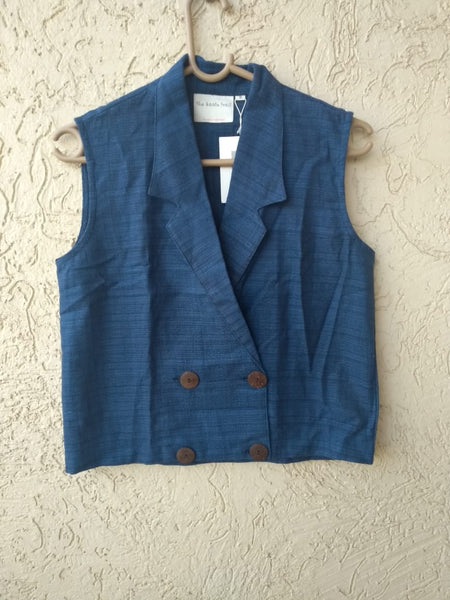 Sleeveless waistcoat jacket top - Prussian Blue