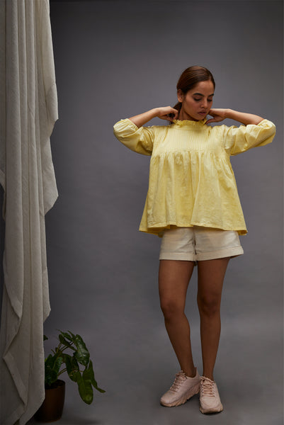 Pintuck top - Lemon yellow