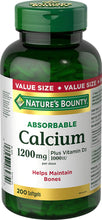 Load image into Gallery viewer, Nature's Bounty Calcium - 1200 mg - 200 Softgels