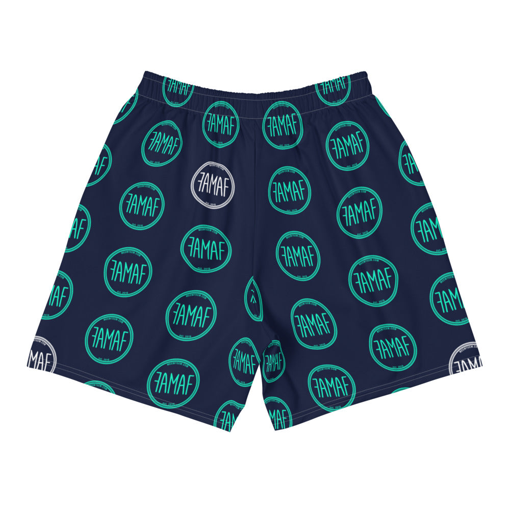 FAMAF Print Athletic Shorts - Navy Teal