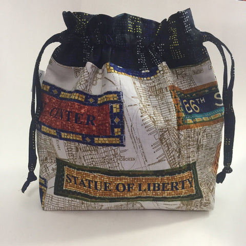 New York Subway Tile Mosaic Drawstring Project Bag -Blue