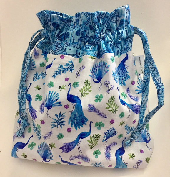 Peacock City Drawstring Project Bag by Chiagu