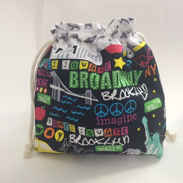 Pigeons of New York Drawstring Project Bag by Chiagu