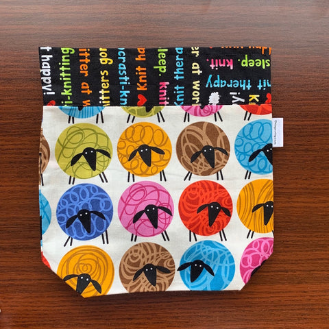 Rainbow Sheep Drawstring Project Bag