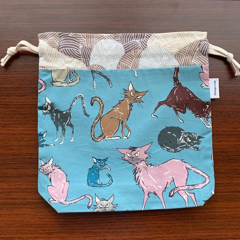 Sebastian Cat Drawstring Project Bag