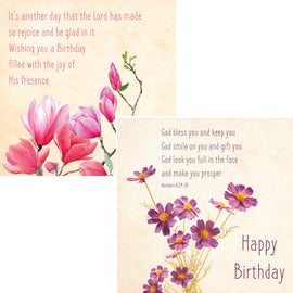 Everyday cards - Floral Birthday (Pack of 6 cards, 3 of each design)