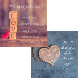 Everyday cards - Love (Pack of 6 cards, 3 of each design)
