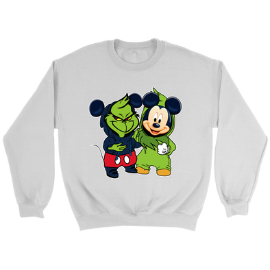 The Grinch Mickey Mouse Christmas Cartoon Funny Sweatshirt-T-shirt-Crewneck Sweatshirt-White-S-Itees Global