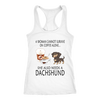 A Woman Can Not Survive On Coffee Alone She Also Needs A Dachshund Love Dogs Shirts-T-shirt-Next Level Racerback Tank-White-XS-Geek Mundo Store