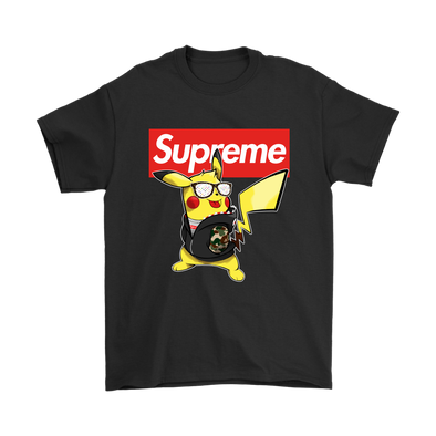 Pikachu Supreme Funny Shirt-T-shirt-Gildan Mens T-Shirt-Black-S-Itees Global