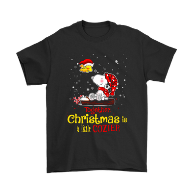 Together Christmas Is A Little Cozier Snoopy Woodstock The Peanuts Movie Shirts-T-shirt-Gildan Mens T-Shirt-Black-S-Itees Global