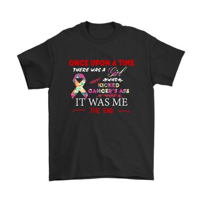 Once Upon A Time There Was A Girl Who Kicked Cancer's Ass It Was Me The End Shirts-T-shirt-Gildan Mens T-Shirt-Black-S-Itees Global