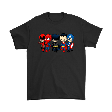 Comic Con - Super Cross Over Bros Miniature Mayhem Deadpool, Siperman, Batman, Superman, Captain America Shirt-T-shirt-Gildan Mens T-Shirt-Black-S-Geek Mundo Store